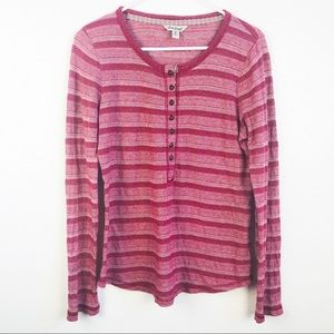 Lucky Brand | Henley Striped Red Long Sleeve Shirt